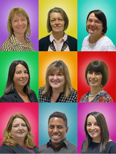 Montage of staff photographs on vibrant multi-coloured backgrounds
